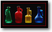 Picture of colored glass bottles